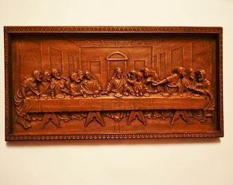The Last Supper, Wood Carved Religious Icon, Leonardo da Vinci, Religious Icon, Art Wall Hanging, Religious Jesus Icon, Christian Wood Icon