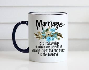 Funny wedding gift etsy funny wedding gift marriage is funny new couple gift coffee cup 11 oz negle Gallery