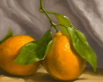 Meyer Lemon Duo - Fine Art Giclee Print - Original Oil Painting - Still Life - Kitchen Decor