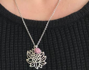 Yoga Necklace, Necklaces for Women, Yoga Jewelry, Lotus Flower Necklace,  Lotus Flower Jewelry, Yoga Gifts for Friends, Yoga Gifts, Jewelry