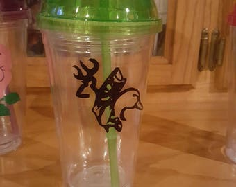 16 oz tumbler with hunting and fishing decal