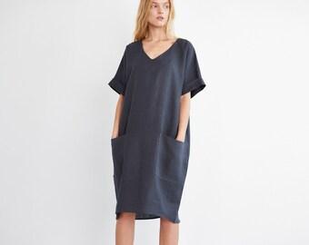 RUBY Oversized Linen Dress  / Washed Linen Women Dress / Short Sleeve Linen Dress / Linen Tunic Dress