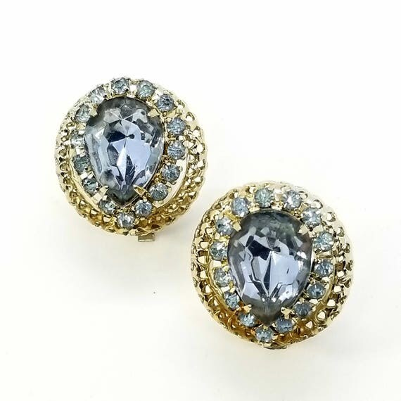 Vintage Light Blue Pear-Shaped Rhinestone Filigree Clip Earrings