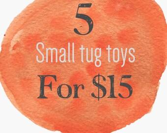 30% off small dog tug toys | 5 small fleece toys for 15