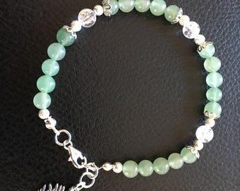Beaded gemstone Aventurine and Crackle Crystal beads
