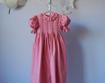"Rose Pink Twill Hand-smocked dress ""Sweet Dream"""