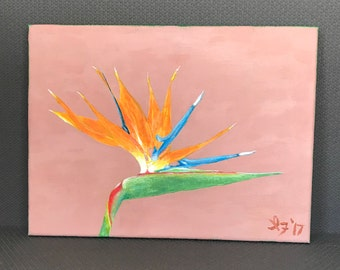 Bird of Paradise Strelitzia - 9x12 inches - Original Acrylic Painting on Canvas