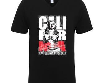 Marilyn Monroe California Republic Bear Trend Clothing Adult Unisex Men Size V Neck Tee Shirts for Men and Women