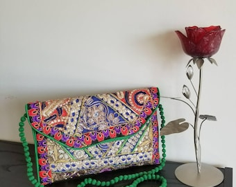 Vintage Green Cross-body purse, Clutch, multicolor sling bag, Gold embroidered clutch bag, Bohemian Clutch bag, Messenger bag, Coin purse