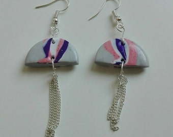 Polymer clay earrings, marbled earrings, dangle and drop earrings, gifts for her
