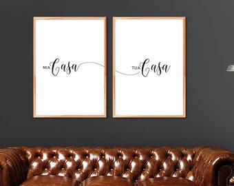 "Italian typography poster Mia Casa Tua Casa ( My house is your house) 18"" x 24"" READY 4PRINT!"