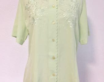 1980s Vintage Embroidered Green Blouse Womens Retro Shirt Mint Green Top Womens Vintage Polo Embroidered Flower Shirt Womens Size Small