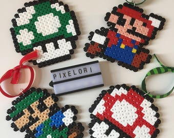 Set of 4 Mario Christmas Baubles Decorations Xmas Hama Beads