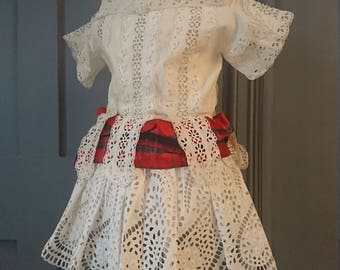 Beautiful 1850s ? Broderie Anglaise Victorian Childs Dress - Antique Fashion