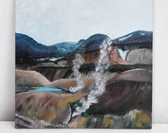 Original painting- Iceland landscape, acrylic painting on canvas. Landmannalaugar mountains and hot waters. Wall art, home decor, gift.