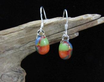 Multicolor Dangle Earrings with 925 sterling ear wires; Fused Glass Earrings; Dangle Earrings; Fused Glass Jewelry/EWM801