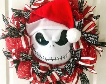 Red Santa Jack Wreath, Nightmare Before Christmas, Jack Skellington, Housewarming Gift, Santa Jack, Tim Burton, Disney Christmas, Christmas