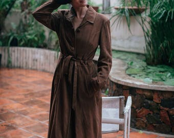 Vintage Argentinian Long Leather Coat with BeltBrand: Celsus