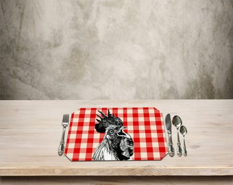 Rooster Placemat,Rustic Table Place mat,Rooster Kitchen Decor, Country Checker Pattern, Add a Fun Farmhouse Touch to your Kitchen Table.