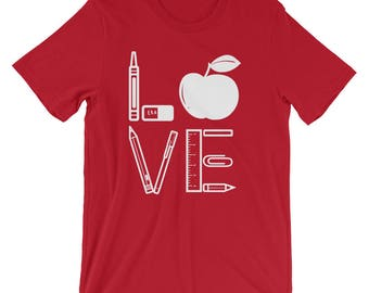 Teacher Gift for Teacher - Teacher Shirt - New Teacher T-Shirt - Teacher Tshirt - Teacher Love Teaching Shirt - Teacher Apple Shirt