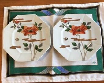 "Two Vintage 1970s Fitz and Floyd Fleur et Nuages 7.75"" Luncheon Plates MCMLXXIX"