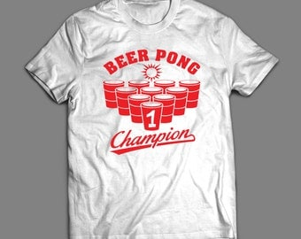 Beer Pong Champion Frat Party T-SHIRT Custom Rare Artwork Design High Quality DTG Print *S-4XL*