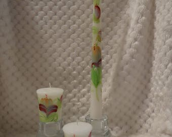 Three Hand Painted Candles