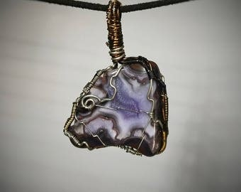 Purple Passion Pendant - Wire Wrapped Agate Jewelry - Purple and White Layered Bands set in Brown Stone - Custom Wire Wrapped Necklace