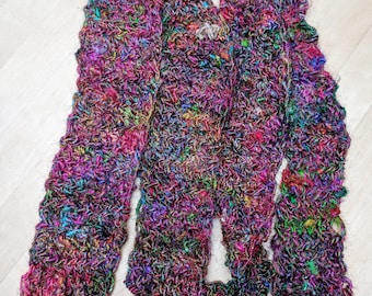 Long hand-crocheted silk scarf