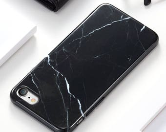 Black Marble iPhone Case, Marble Phone Case, Classic Marble iPhone 7, iPhone 8
