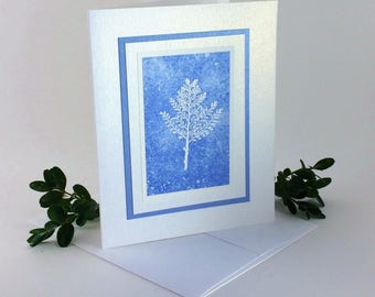 White winter branch embossed blank card, individually made on hand-painted paper: A2, notecards, fine cards, winter, SKU BLA21019
