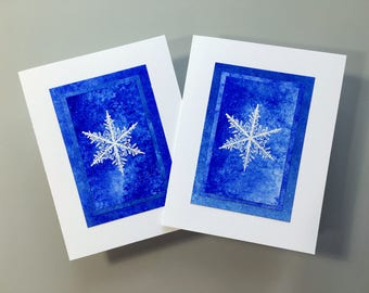 Embossed snowflakes on hand-painted papers blank cards (set of 2), SKU BLA21058