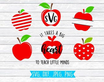 Teacher Svg, Apple Avg, DXF, Svg, Teacher, Monogram, School, PNG, Svg files for, Silhouette,Cricut, Split Monogram, Kindergarten, Elementary