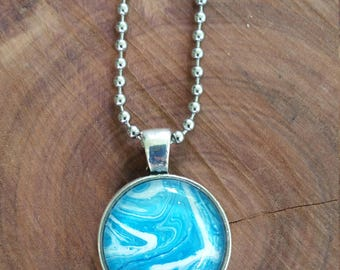 FREE SHIPPING-Handmade pendant, Unique pendant, Abstract pendant, Fluid art pendant, Glass pendant necklace, Handmade jewellery-Unique gift.