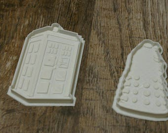 3D Printed Dr Who Tardis and Dalek Cookie Cutter Set of 2