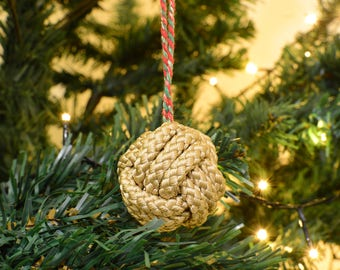 Christmas Bauble Gold Monkey Fist knot