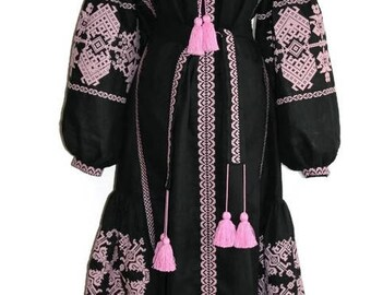 Kaftan Abaya Long embroidered Dresses Bohemian Clothes Ethnic Ukrainian Embroidery Vyshyvanka Dress Custom Boho Clothing Vishivanka Folk
