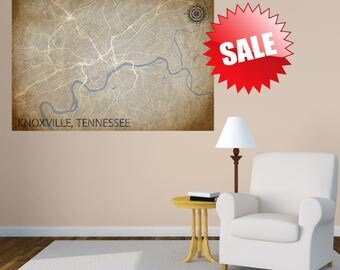 KNOXVILLE TN Canvas Print Tennessee TN Vintage map Knoxville Vintage map Panoramic housewarming gift idea Tn City Horizontal Wall Art maps