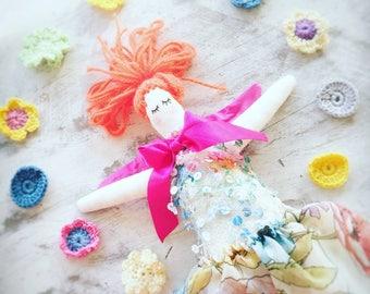 Handmade Cloth Fairy Doll 34 cm tall by NoosaForestFairies