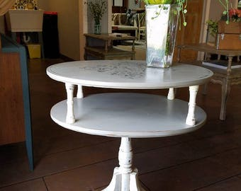 Two Tiered Hand Painted Antique Side Table