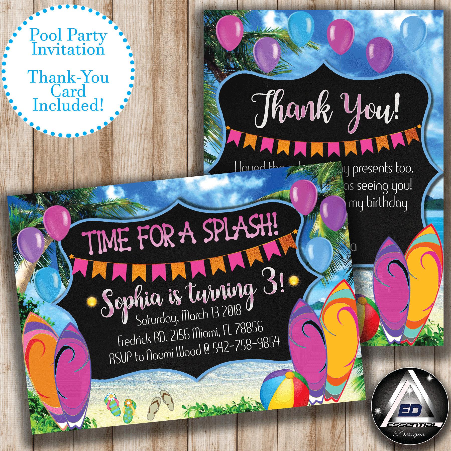 Pool Birthday Invitation, Girl Pool Party Invitation, Pink Pool ...