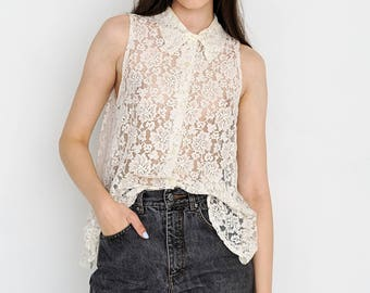 VINTAGE White Floral See Through Sleeveless Retro Shirt Polo
