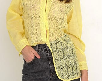 VINTAGE Yellow See Through Long Sleeve Retro Shirt