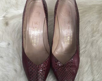 Vintage 80's Bruno Magli leather and snakeskin pumps - Burgundy