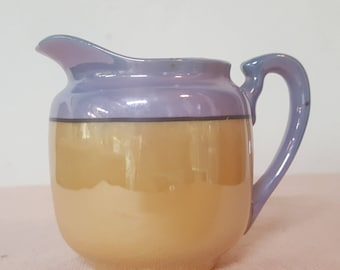 Lustreware Creamer Blue/Peach (Hand Painted/Made In Japan)