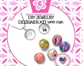 Make Your Own Jewelry with Clay DIY Snap Jewelry kit for Girls from my Award Winning Studio