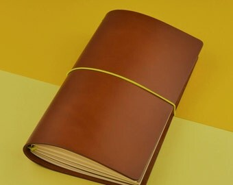 Travelers Notebook-Midori Cover-leather journal-gift for him-genuine leather-brown with elastic yellow passport/Regular