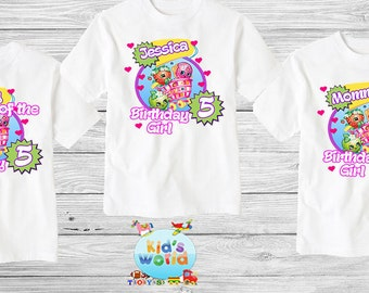 Shopkins Family birthday shirt, Custom shirt ,personalized shopkins  Shirt , family shirt,birthday shirt,kids custom birthday shirt d4