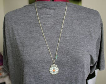 Bohemian Teal and Silver Pendant Necklace