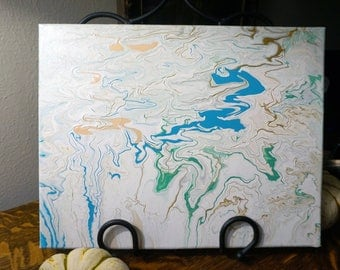 "Original ""Tranquil Riverfall"" - Marbled Acrylic 11 x 14 inches"